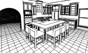 Rendering Sketch of kitchen cabinets